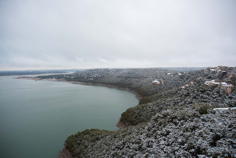 Snow covering the cedar trees around Lake Travis. Photo taken by Tyler Torwick