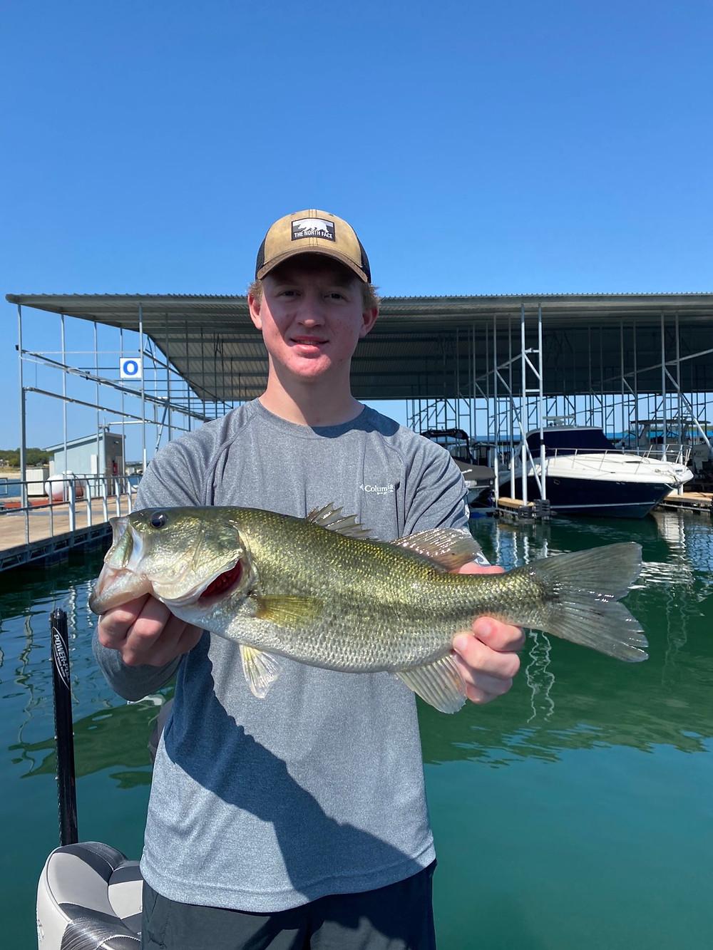 Taylor with a big Lake Travis Largemouth