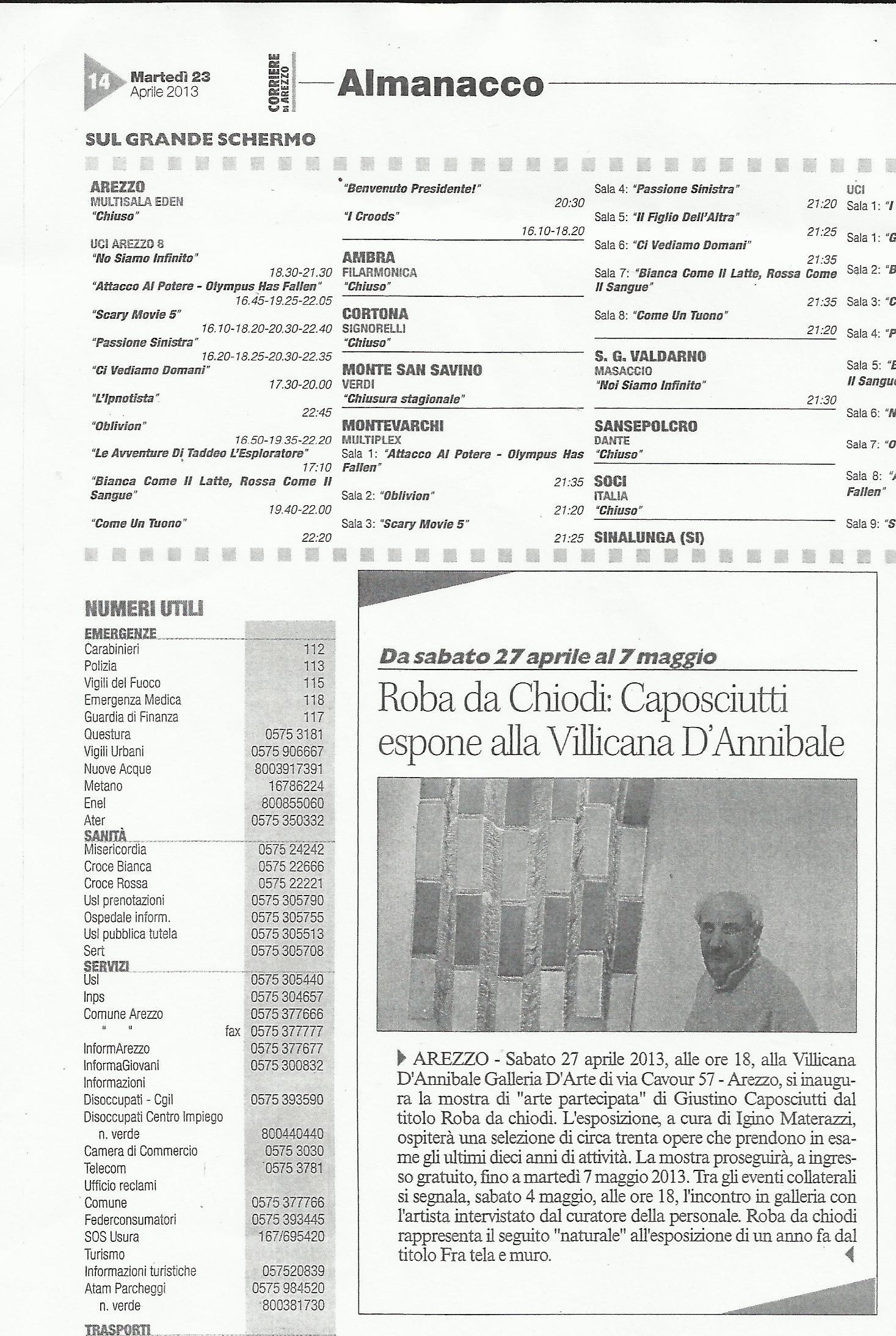 CORRIERE DI AREZZO: Caposciutti