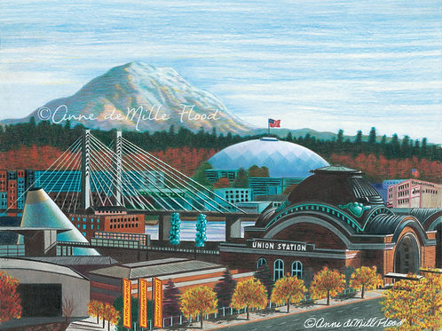 "Tacoma City Skyline 11""x14"" Matted Print"