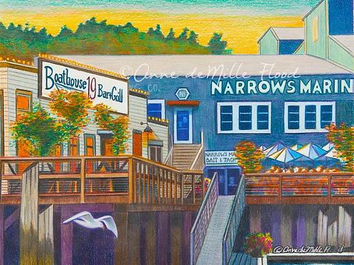 "Narrows Marina & Boathouse 19 11""x14"" Matted Print"