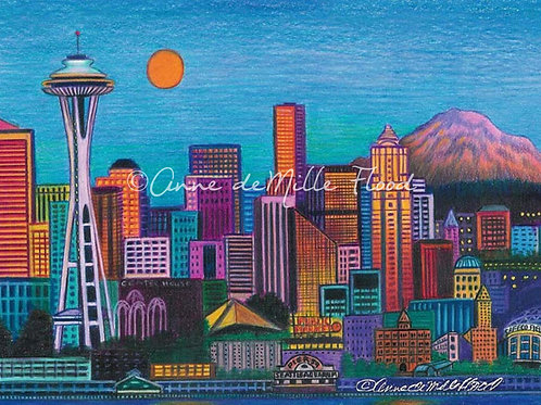 "Seattle Skyline 11""x14"" Matted Print"