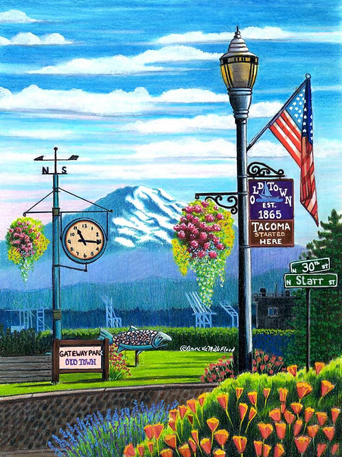 "Old Town Tacoma Clock 11""x14"" Matted Print"