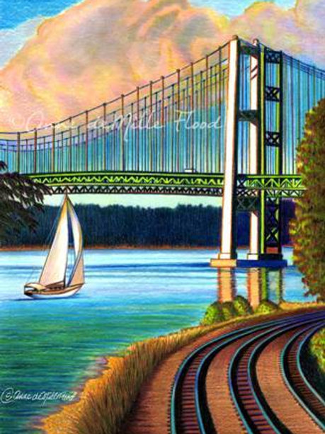 "Tacoma Narrows Bridge 11""x14"" Matted Print"