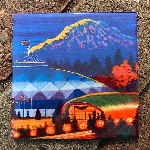 Moonrise Over Tacoma Coaster