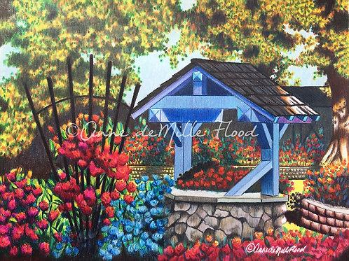 """Rose Garden Well 11""""x14"""" Matted Print"""