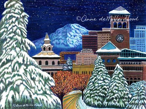 "Starry Night, Snowy Night 11""x14"" Matted Print"