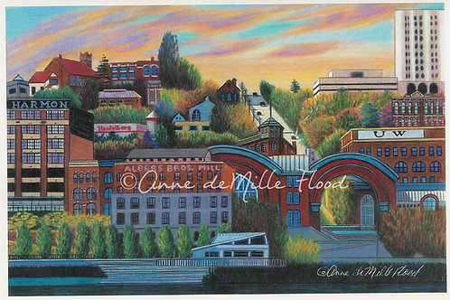 "Central Downtown Tacoma Skyline 11""x14"" Matted Print"