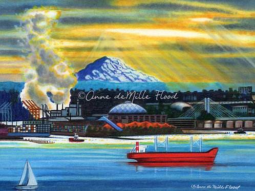 """Tacoma's Working Waterfront 11x14"""" Matted Print"""