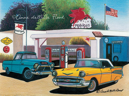 "Mobil Gas 11""x14"" Matted Print"