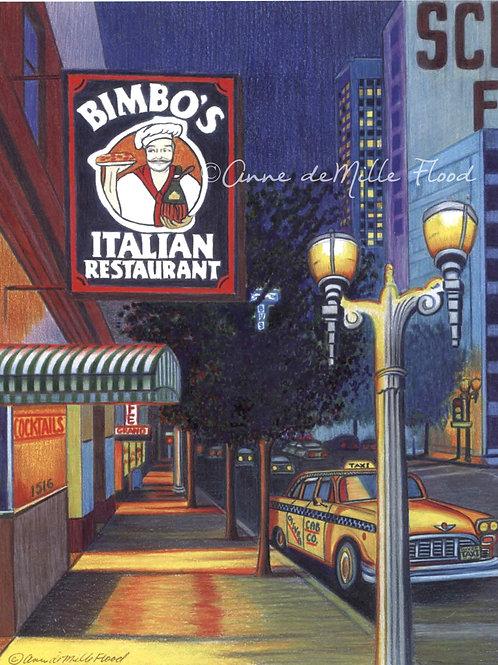 """Bimbo's Restaurant 11""""x14"""" Matted Print"""