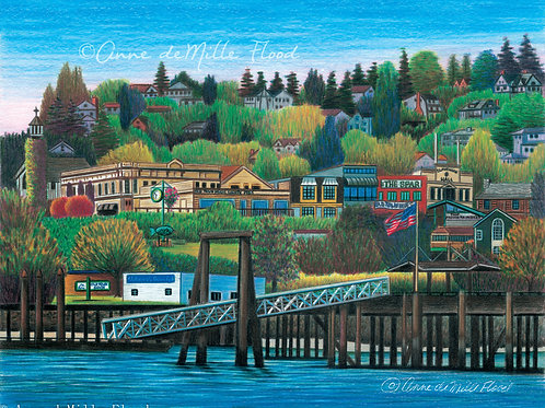 """Old Town Tacoma 11""""x14"""" Matted Print"""