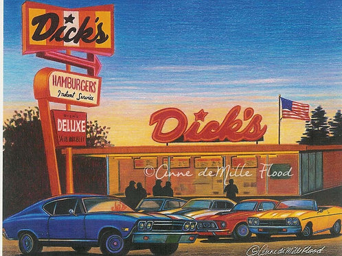 """Dick's Drive-In 11""""x14"""" Matted Print"""