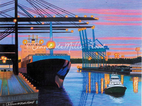 "Port of Tacoma 11""x14"" Matted Print"
