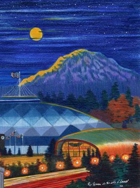"Moonrise Over Tacoma 11""x14"" Matted Print"
