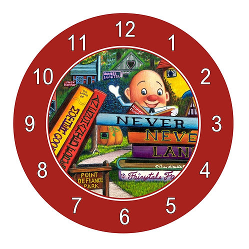 Never Never Land Clock; Red