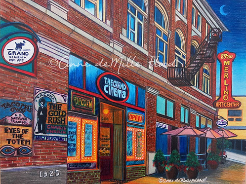 """The Grand Cinema and Merlino Arts Center 11""""x14"""" Matted Print"""