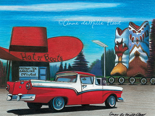 """Hat 'n Boots 11""""x14"""" Matted Print"""