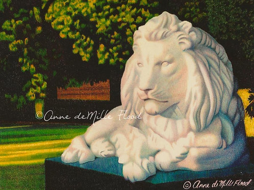 "Wright Park Lion 11""x14"" Matted Print"