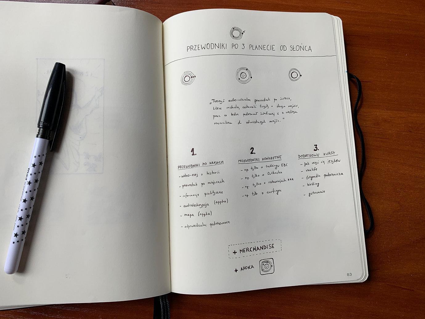 szkic w notatniku
