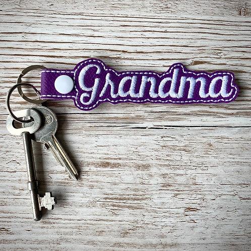 Grandma Faux Leather Key Fob