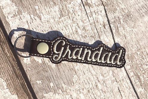 Grandad Faux Leather Key Fob