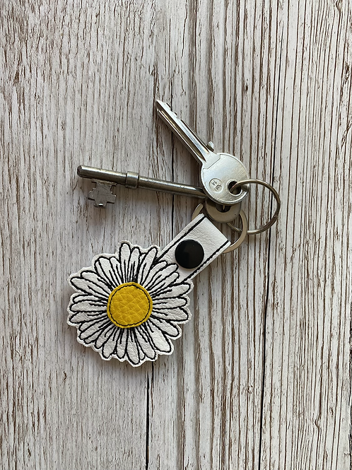 Daisy Faux Leather Key Fob