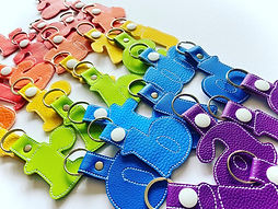 Busy Beans rainbow letter keyrings