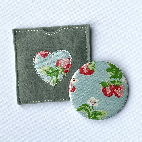 Pocket Mirror, Strawberry Blossoms