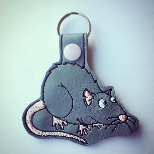 Rat Faux Leather Key Fob