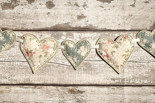 Floral Hearts Fabric Bunting