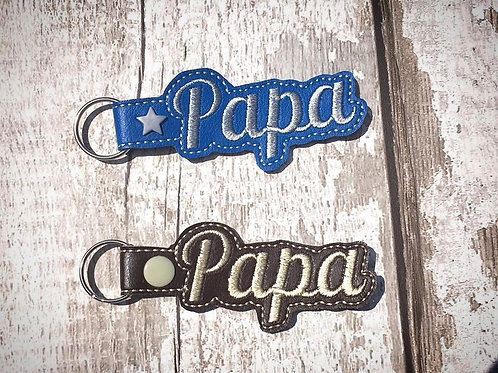 Papa Faux Leather Key Fob