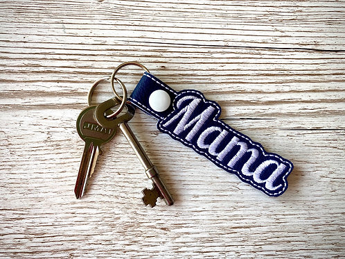 Mama Faux Leather Key Fob