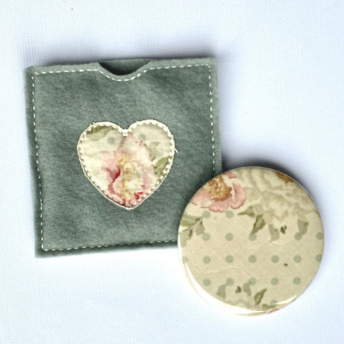 Pocket Mirror, Vintage Floral