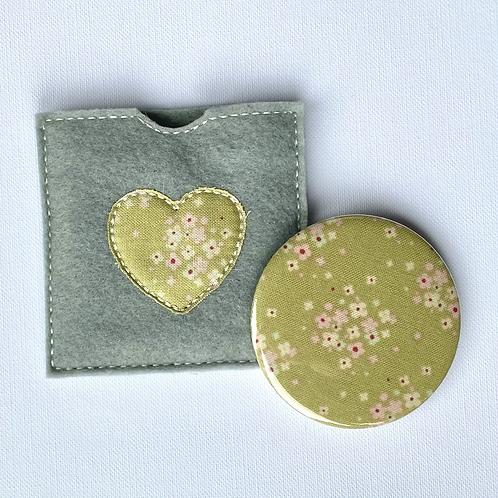 Pocket Mirror, Green Floral