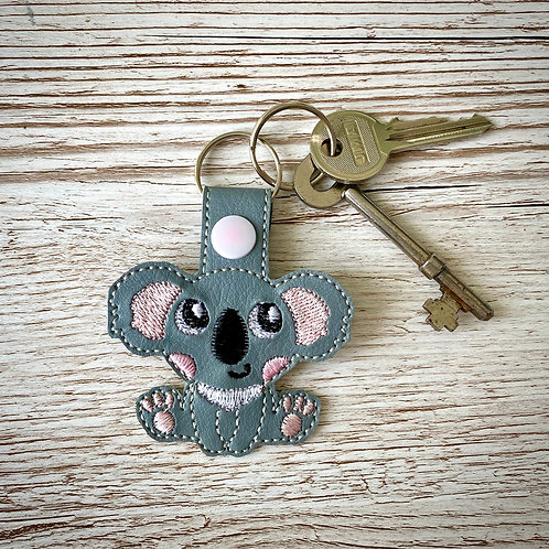 Koala Faux Leather Key Fob