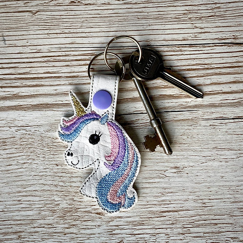 Unicorn Faux Leather Key Fob