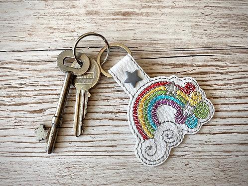Rainbow Faux Leather Key Fob