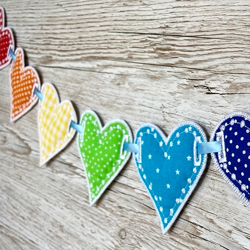 Rainbow Hearts Fabric Bunting