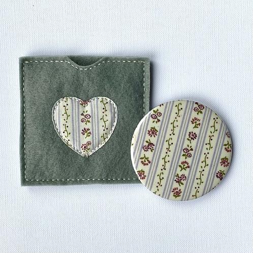 Pocket Mirror, Floral Stripes