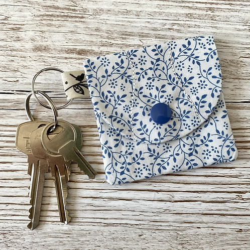 Mini pocket keyring pouch - blue vines