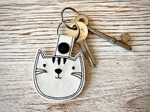 Cat Faux Leather Key Fob