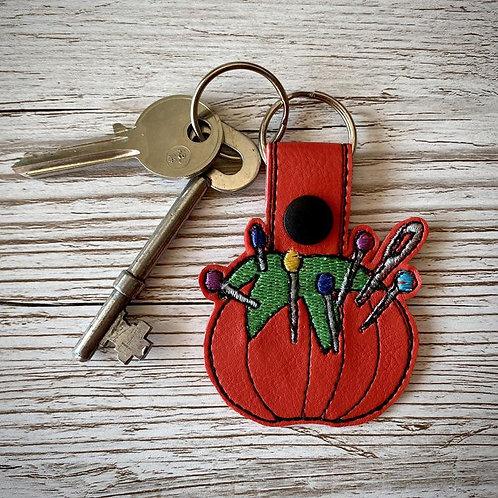 Tomato Pin Cushion Faux Leather Key Fob