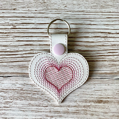 Heart Faux Leather Key Fob