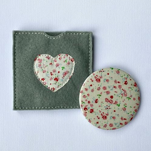Pocket Mirror, Pink Floral