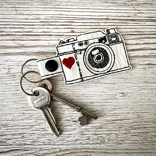 Camera Faux Leather Key Fob