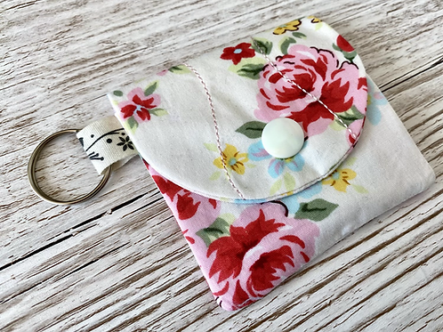 Mini pocket keyring pouch -pink flowers