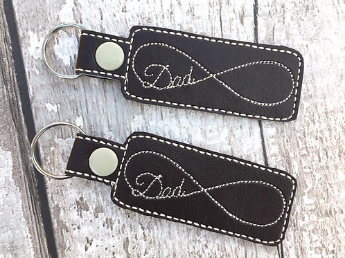 Dad Infinity Faux Leather Key Fob