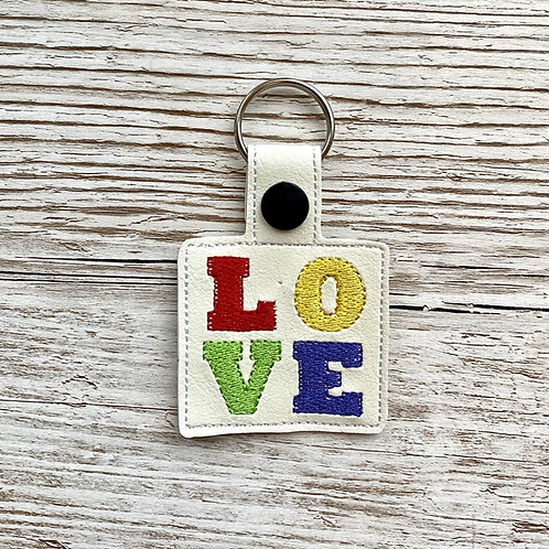 Love Letters Faux Leather Key Fob