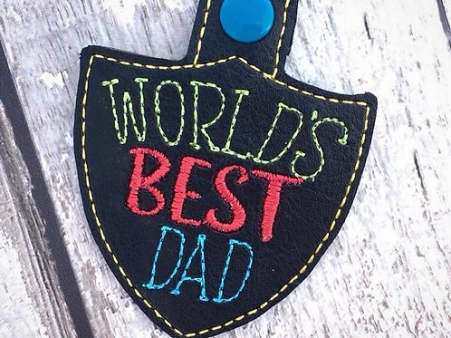World's Best Dad Faux Leather Key Fob